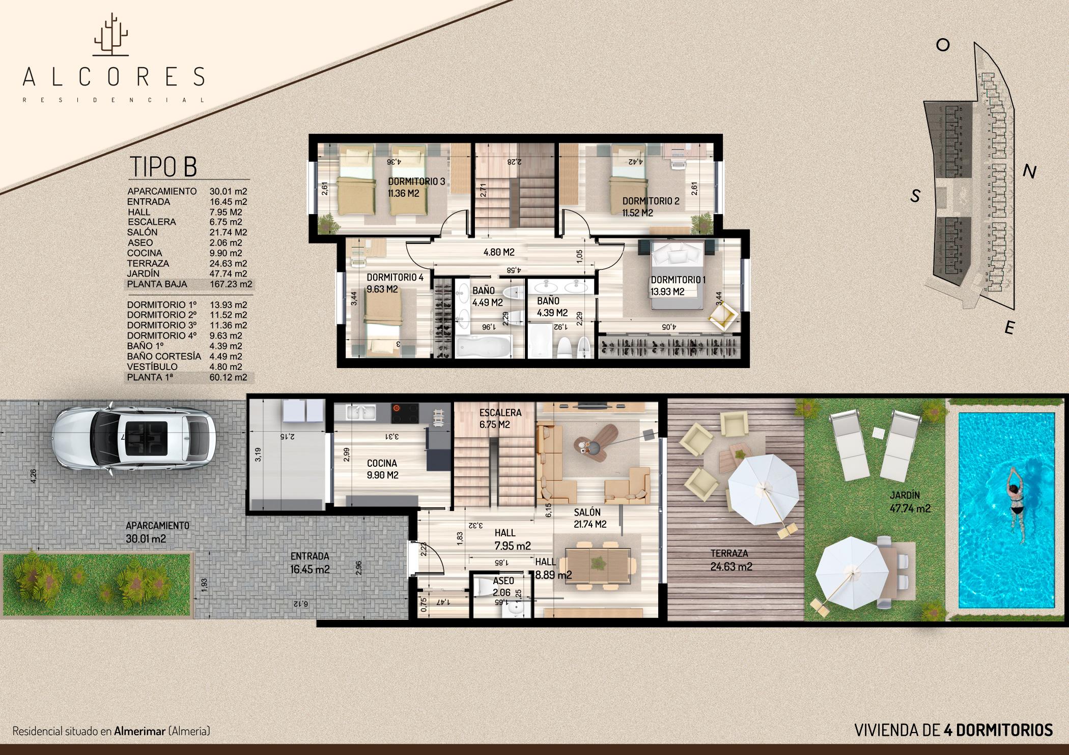 Duplex de 4 dormitorios inmobiliaria el puerto pisos for Plantas de viviendas