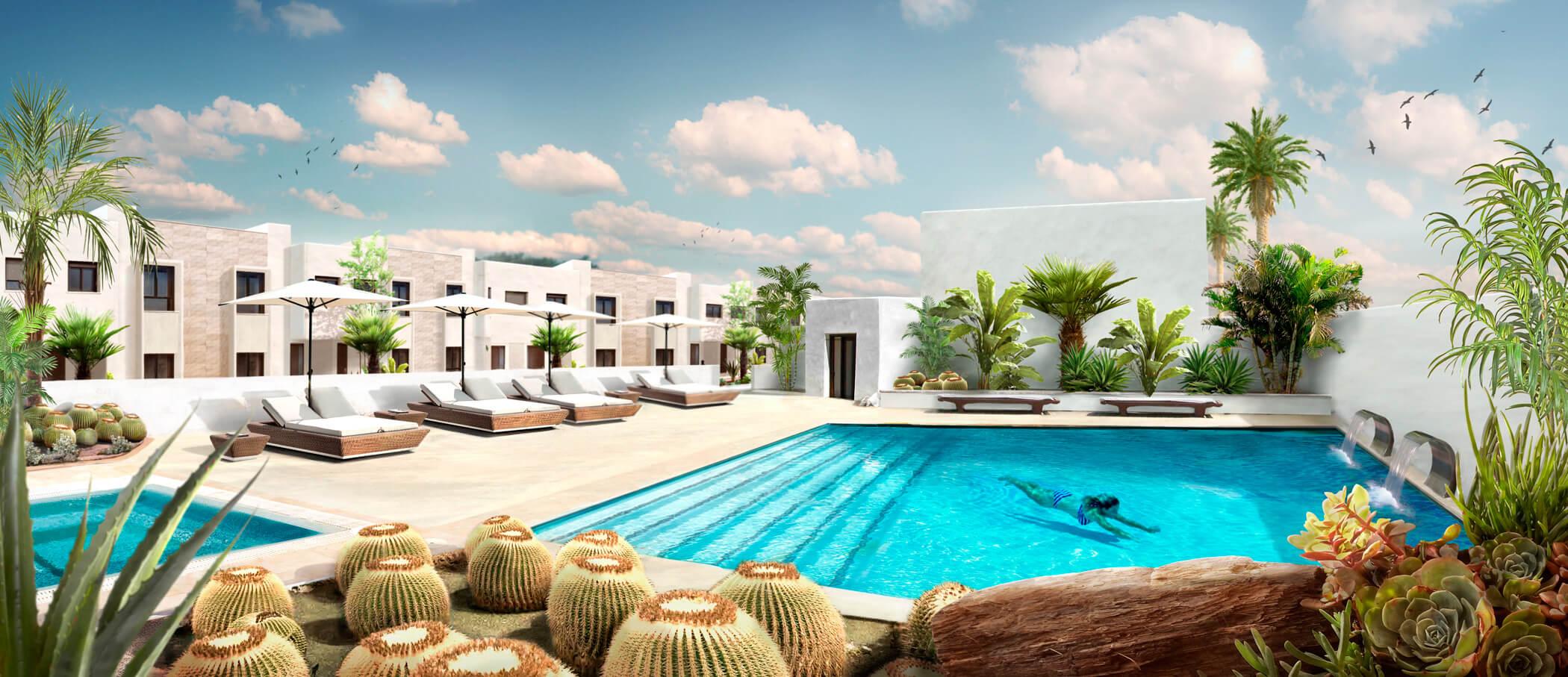 Residencial los alcores inmobiliaria el puerto pisos for Piscinas almeria