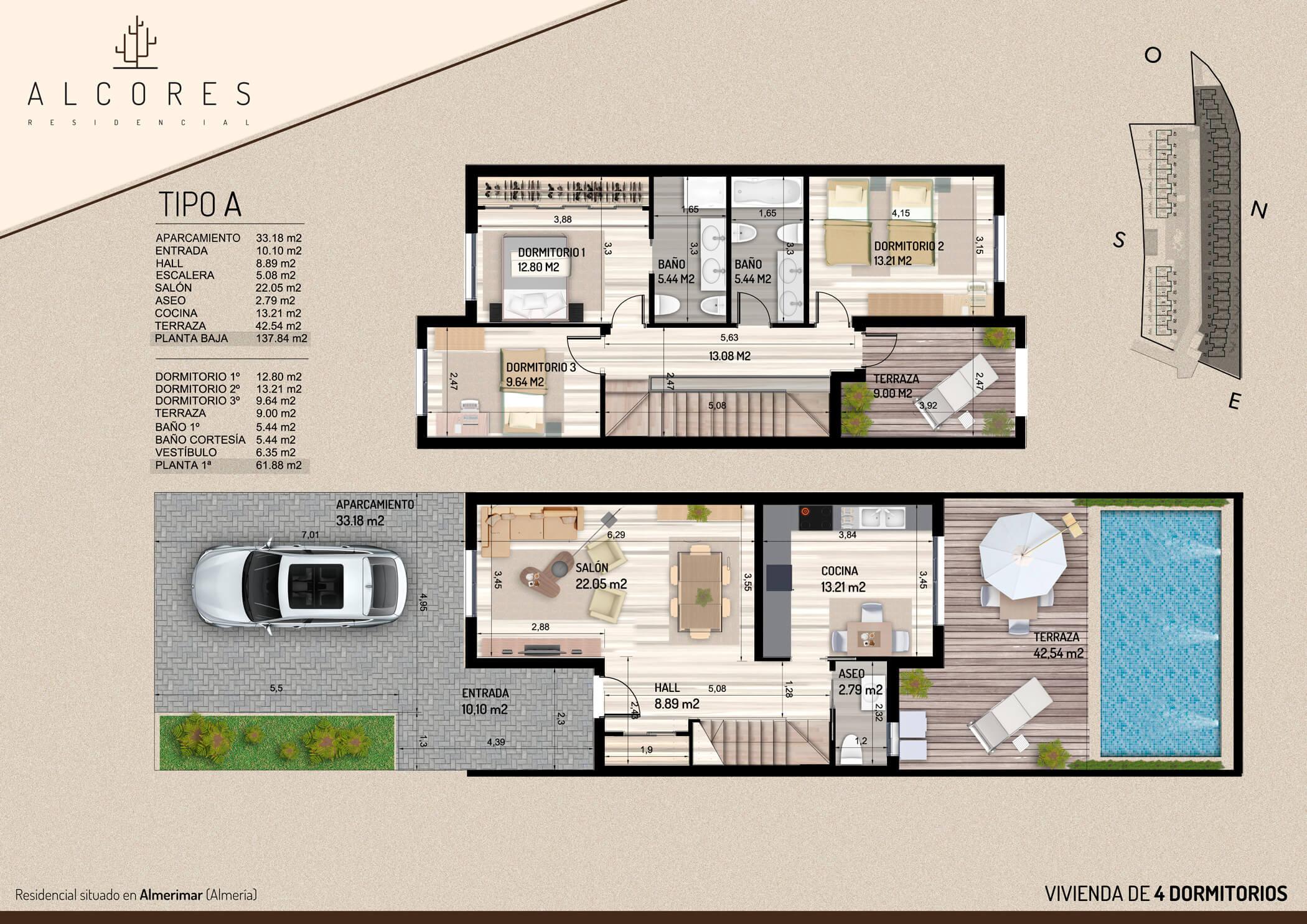 Duplex de 3 dormitorios inmobiliaria el puerto pisos for Planos de cocina salon
